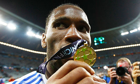 Chelsea's Didier Drogba celebrates Champions League victory  against Bayern Munich