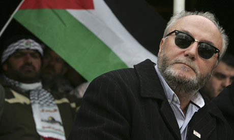 British MP George Galloway prepares to speak to the Islamic Action Front supporters in Amman