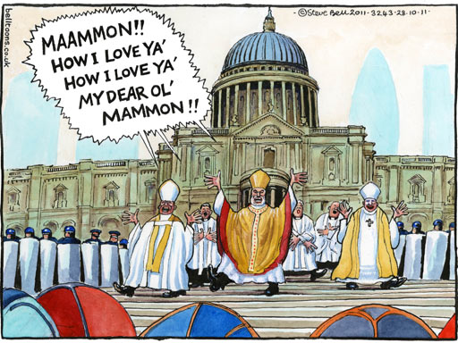 Steve Bell cartoon on St Paul's Cathedral and money