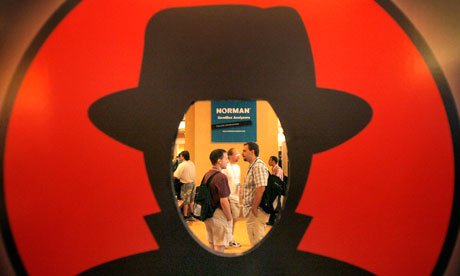 The Defcon 2007 hacker conference at Caesars Palace, Las Vegas, seen through the Black Hat logo