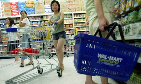 Chinese women shop at Wal-Mart Supercenter in Jinan