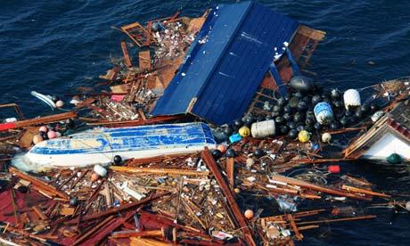 Tsunami debris floating in the Pacific