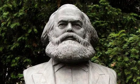 Large bust of Karl Marx in former east Berlin, Germany