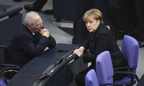 Angela Merkel, with Germany's finance minister Wolfgang Schaeuble