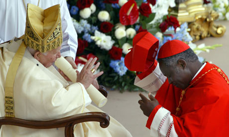 Cardinal Peter Turkson with Pope John Paul II