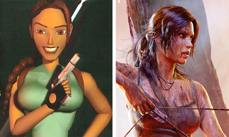 Lara Croft, in 1988 and today.
