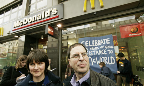 McLibel: Helen Steel and David Morris, outside a branch of McDonald's in, London, in 2005