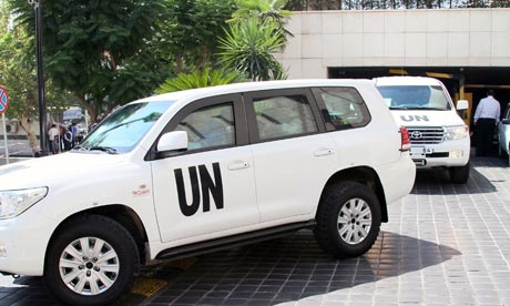 UN inspectors leave their hotel in Damascus
