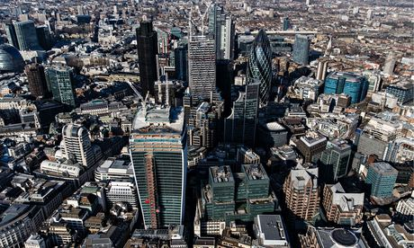 Aerial view of the financial district of London