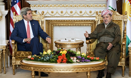 John Kerry and Massoud Barzani in Irbil