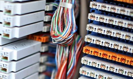 domestic high speed fibre optic network in close up