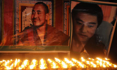 A shrine to two Tibetan monks who set themselves on fire recently in protest against Chinese rule
