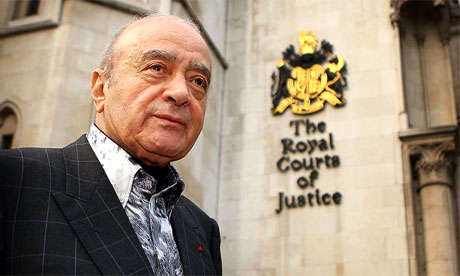 Harrods owner Mohamed Al Fayed outside the inquest into the deaths of his son and Diana, princess of Wales