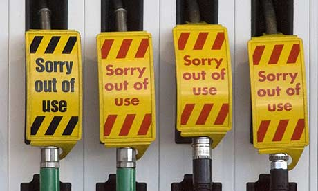 Fuel pumps at a Shell petrol station near Liverpool