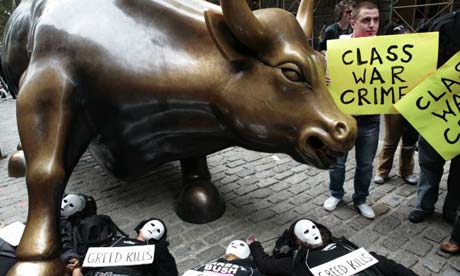 Wall Street: Demonstrators protesting in New York before the $700bn Wall Street bail-out earlier this month. Photograph: Nicholas Roberts/AFP/Getty images