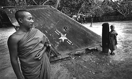 Part of a US bomber lies in a temple in Phanop village, Laos