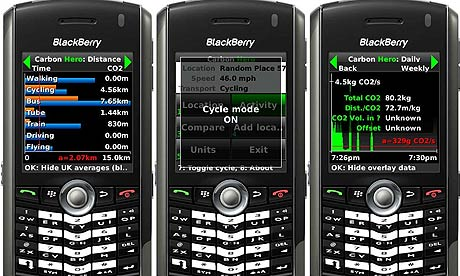 Carbon Diem's mobile phone carbon calculator