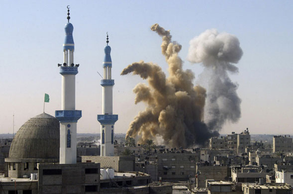 Israeli missile strike in Rafah, southern Gaza. The Guardian.