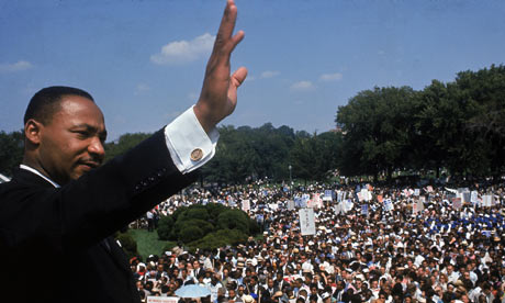 Martin Luther King at Washington DCs Lincoln Memorial in 1968.