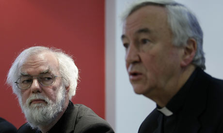 Archbishop Vincent is left to explain, while Archbishop Rowan looks on