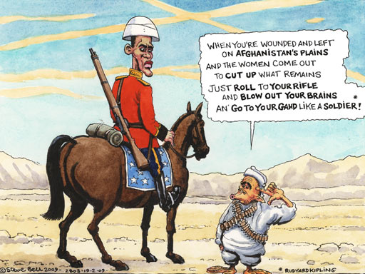 Bush and Obama in Afghanistan, cartoon