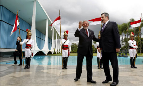 Gordon Brown with Brazilian President Luiz Inacio Lula da Silva