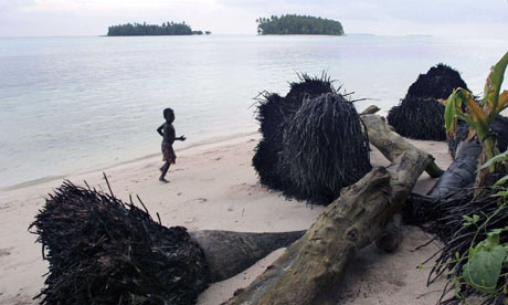 Rising isea levels endangered life on Iolasa island on the Carterets Atoll, Papua New Guinea