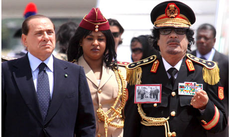 Silvio Berlusconi welcomes Muammar Gaddafi at Rome Ciampino airport