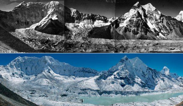 Il lago Imja in Nepal (sopra: come era 50 anni fa; sotto: nel 2007)