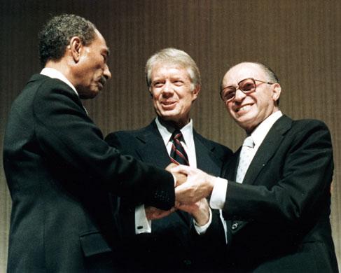 Israel-Palestine timeline: 1979. Anwar Sadat, Menachim Begin with President Carter