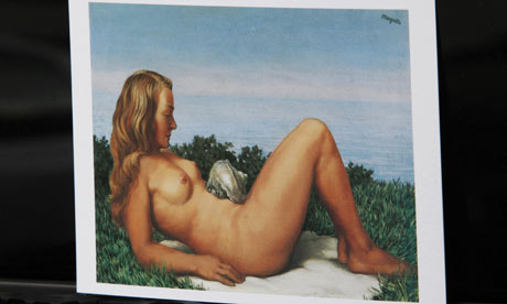 A postcard showing Rene Magritte's