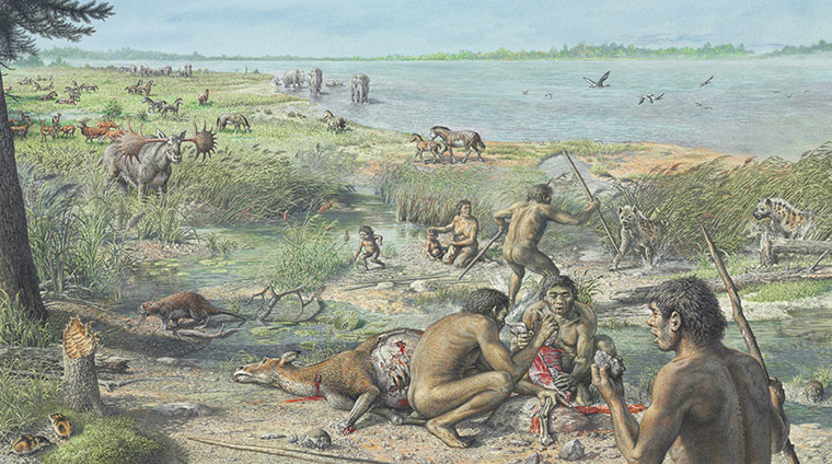 2010 year in science: Happisburgh illustration :  first evidence of humans living in Britain