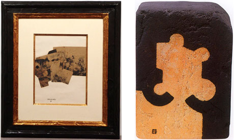 Two of the stolen works by Eduardo Chillida
