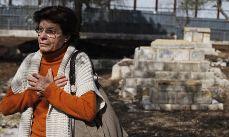 Dyala Husseini visits a Muslim cemetery near the construction site of a museum of tolerance