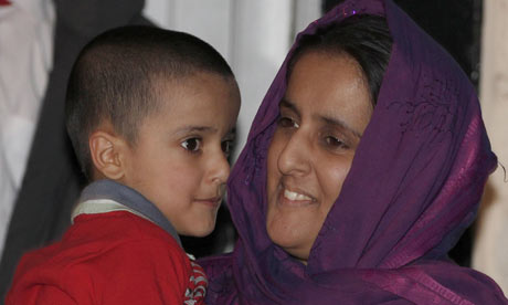 Sahil Saeed with his mother at home in Oldham