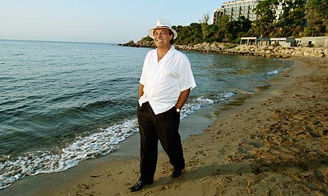 Asil Nadir on a beach in Northern Cyprus.