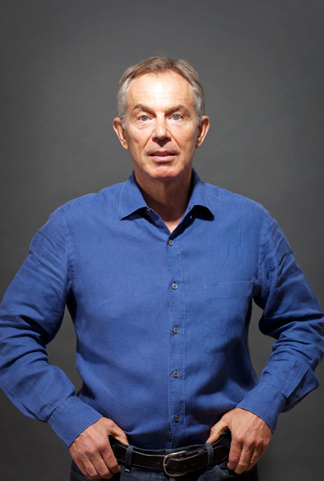 Hands on hips: Tony Blair.