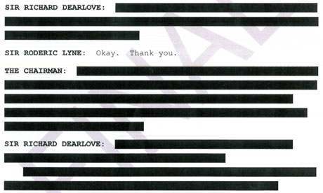 Dearlove testimony to Chilcot: redacted extracts