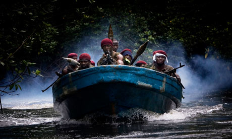 Militants of the Movement for the Emancipation of the Niger Delta travelling between camps.