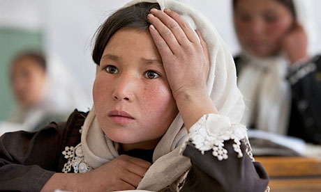 Afghan girls in a classroom