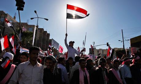Protesters in Yemen