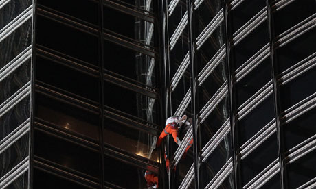 French Alain Robert climbs tower of Burj Khalifa