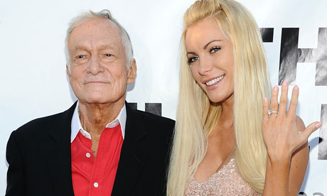 Hugh Hefner with his fiancee Crystal Harris.