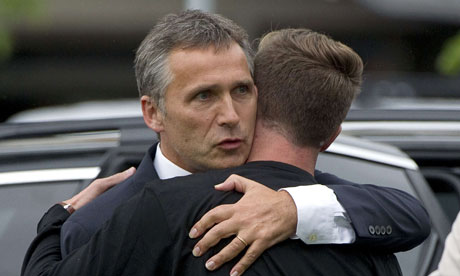 Jens Stoltenberg embraces survivor