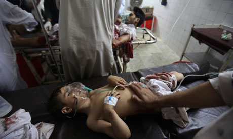 A boy injured in the Pakistan school bus attack