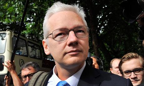 Julian Assange outside the High Court in July