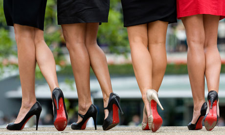 Christian Louboutin's red-soled shoes on display at Ascot racecourse. Photograph: Violet/Getty Images