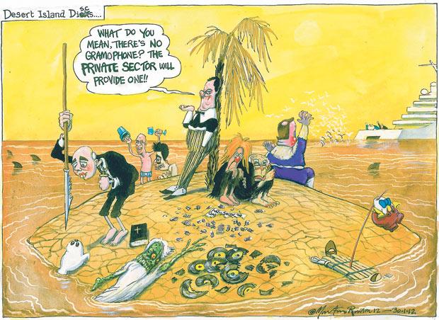 Economic crisis cartoon by Martin Rowson