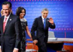 Barack Obama and Romney at debate