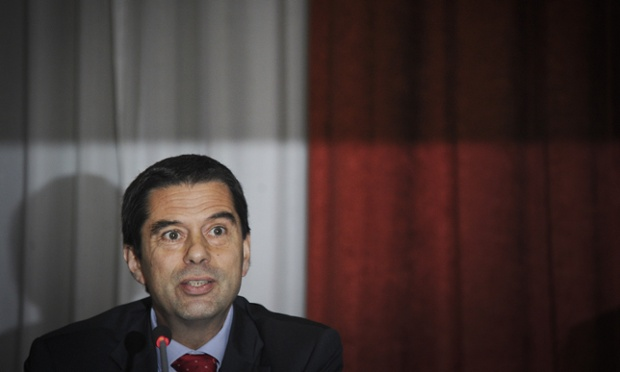 Portuguese Finance Minister Vitor Gaspar gives a press conference to announce new austerity measures at Finance Ministry in Lisbon, on October 3, 2012.